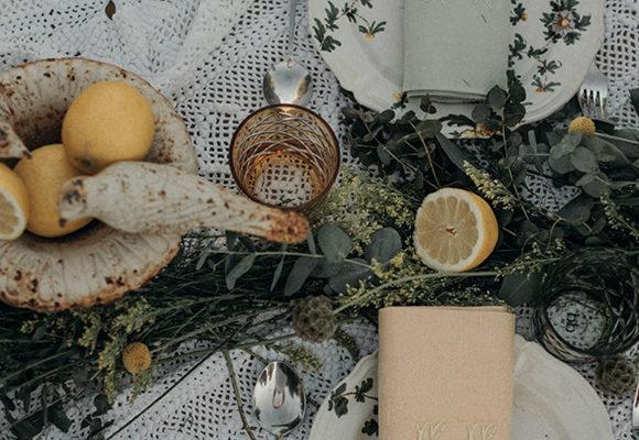 Una mesa entre olivos