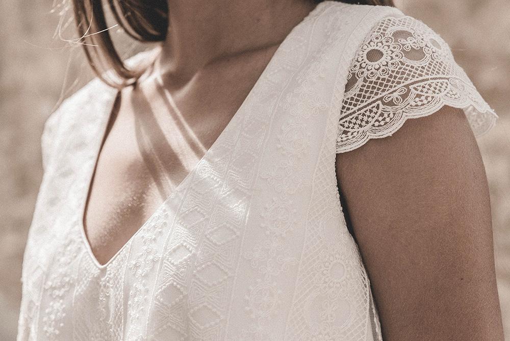 Claudia Llagostera vestido de novia con manga corta