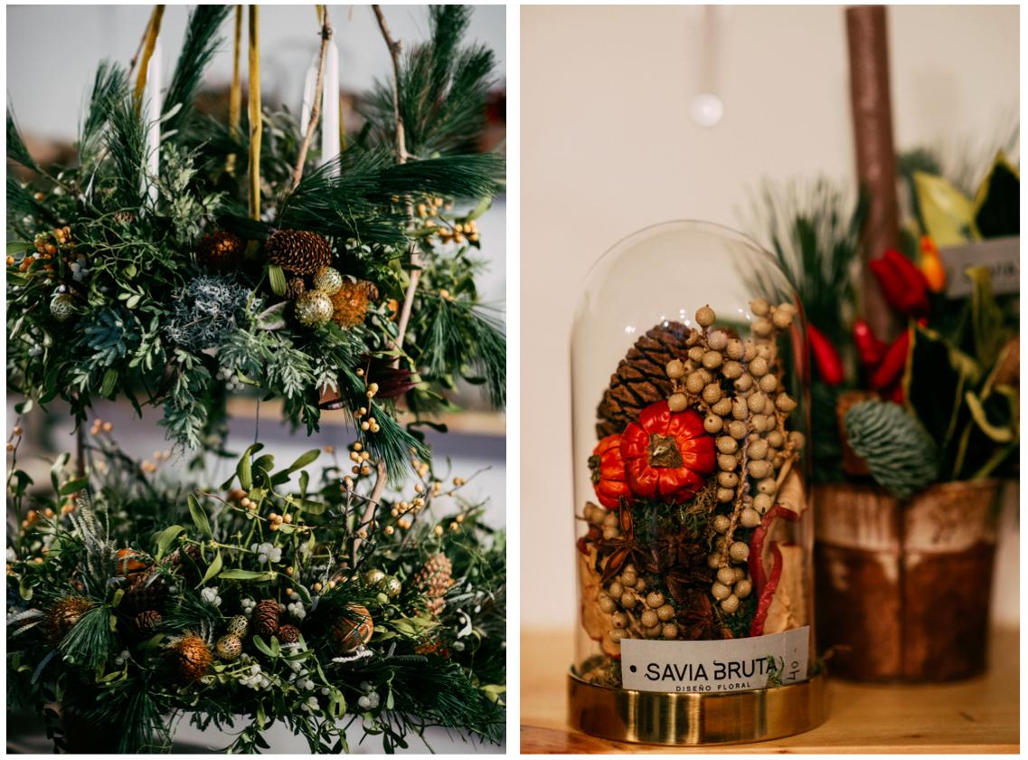 Decoración navideña de la floristería de bodas Savia Bruta