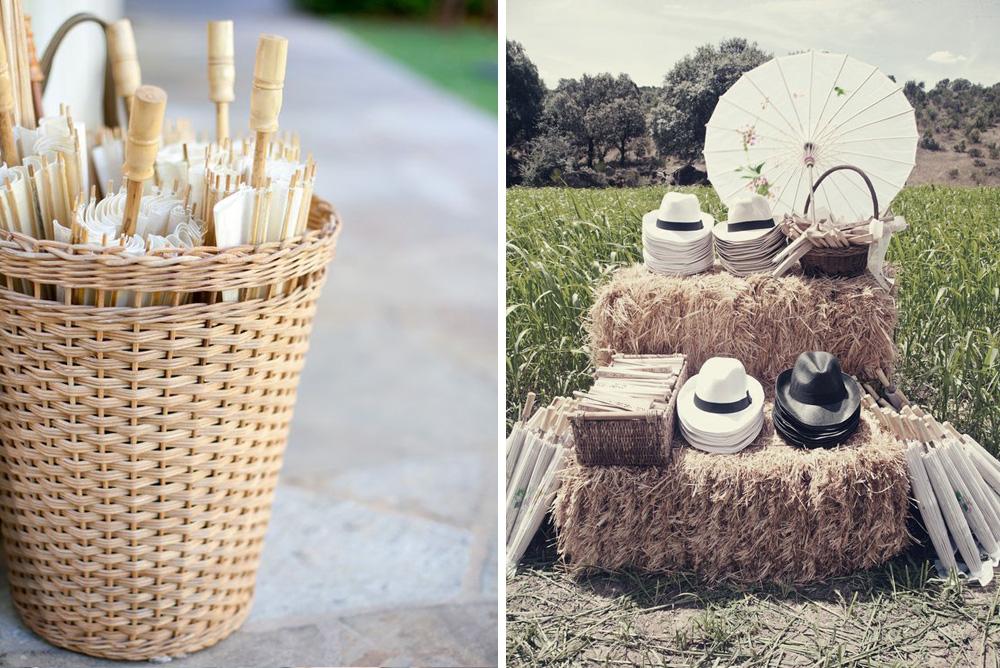 Regalos para invitados de boda: sombrillas y sombreros