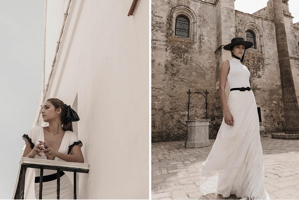 Claudia Llagostera vestido de novia con detalles en negro