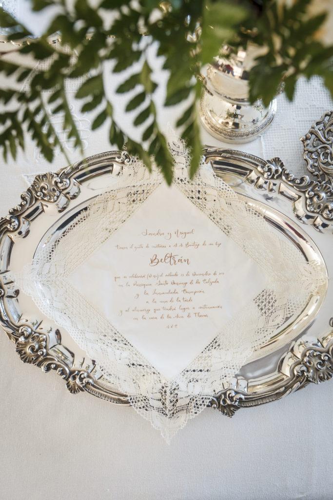 Invitación de boda en tela